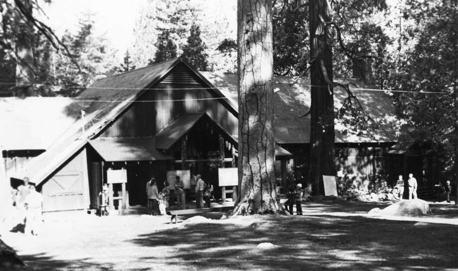 April 28, 1964: Camp Mather in the 1960s. It's not a very clear photo, but I'm guessing those signs are maps and maybe a list of activities. Photo: San Francisco Recreation Department