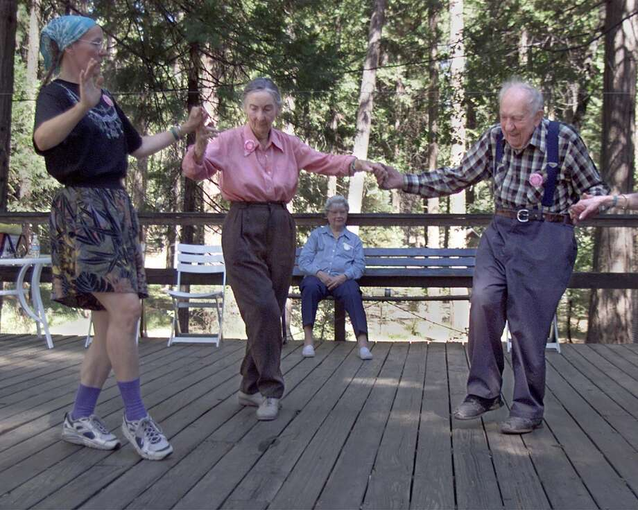 The pleasures of Camp Mather are still pretty rustic. Seniors take a dance class. Photo: Michael Maloney, The Chronicle