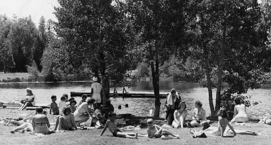 May 30, 1948: San Franciscans enjoy the shores of Birch Lake at Camp Mathers. Weird to see a beach scene with nobody on their cell phone. Photo: Courtesy San Francisco Recreatio