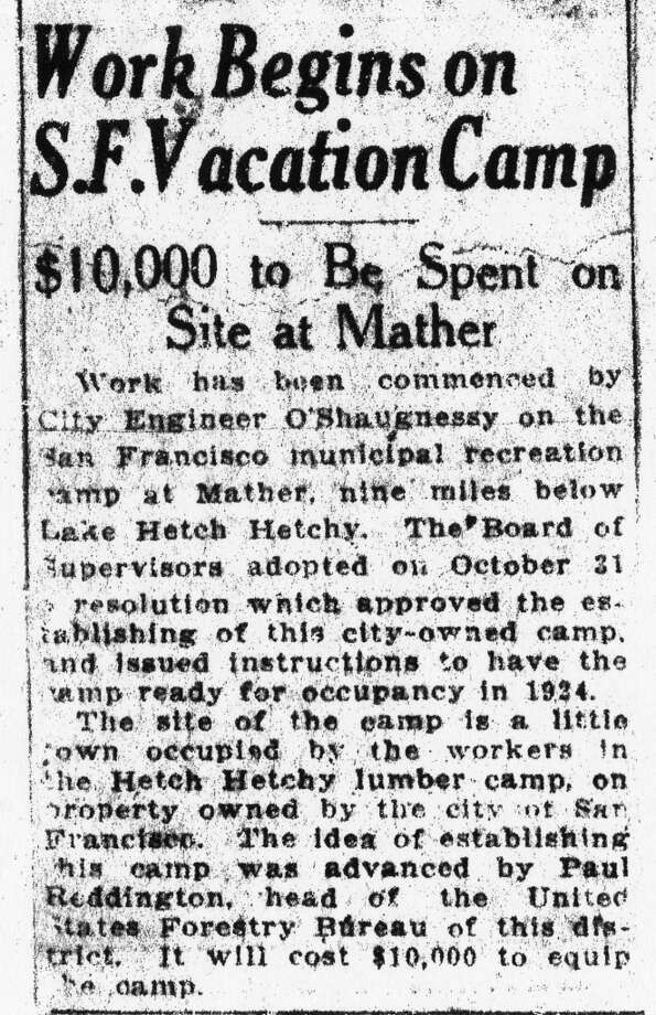 The first article from the Chronicle archives about Camp Mather was published in 1923. Photo: Chronicle Archives, The Chronicle