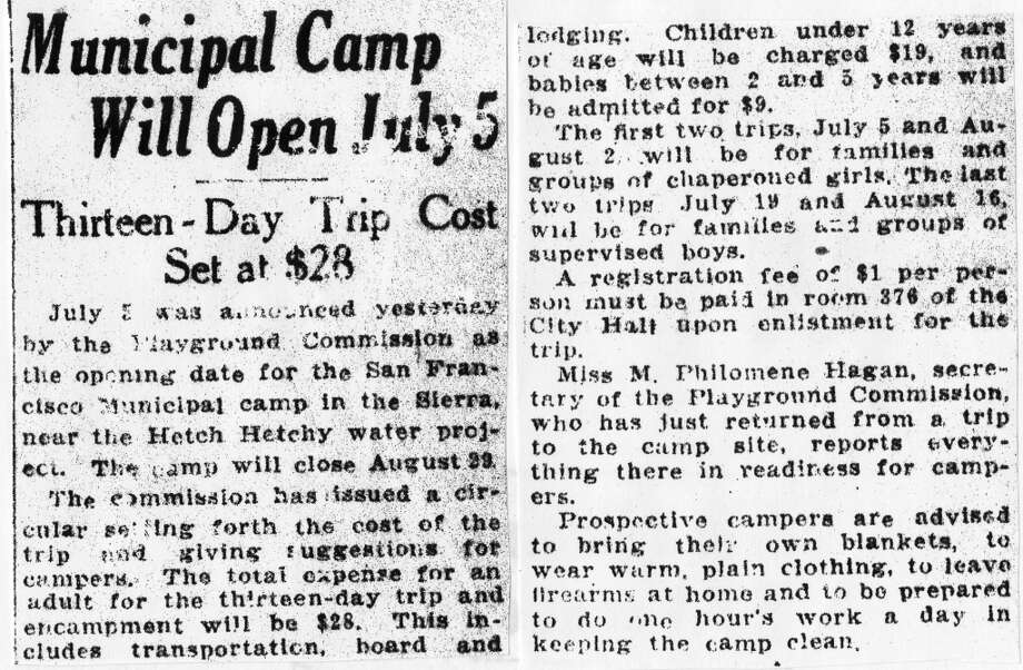 An 1924 article from the Chronicle archives, discussing Camp Mather's opening. Photo: Chronicle Archives, The Chronicle