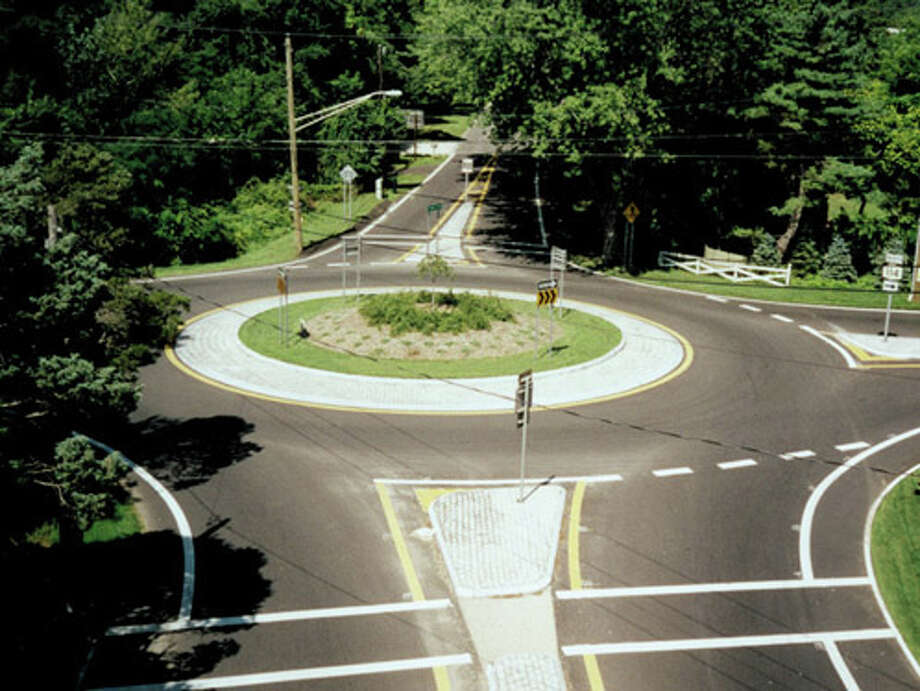 A traffic calming roundabout in Sag Harbor, Long Island, one of RBA's past projects. Photo: Contributed Photo / Westport News