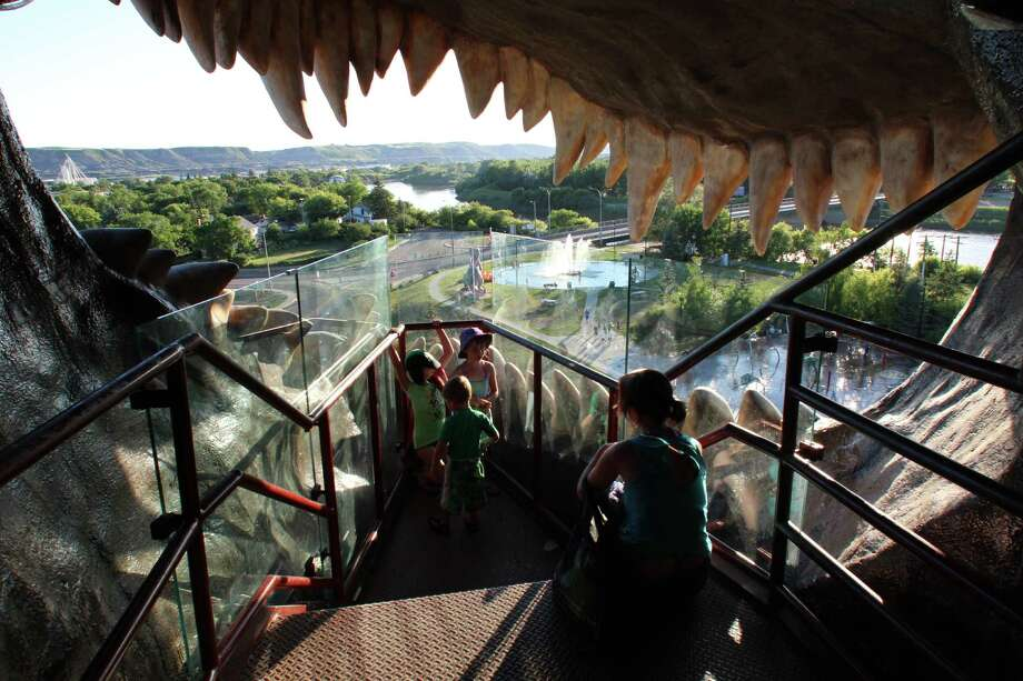 The 86-foot-tall World's Largest Dinosaur in the Alberta town of Drumheller had a staircase that leads to views of town from its toothy mouth. Photo: Spud Hilton / The Chronicle