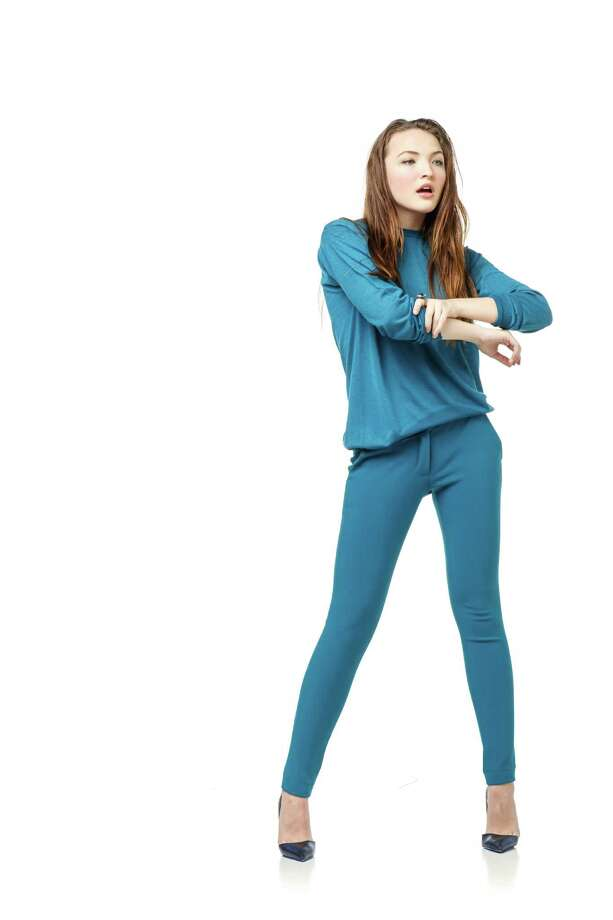 Look 1 Bay Berger of Neal Hamil Agency is wearing Kurt Geiger London black/blue printed leather courts heels, $385; Stella McCartney teal sweater, $730; Stella McCartney teal pants, $800, all from Nordstrom. Armenta sterling silver and 18k gold ring with Labradorite, $3,435, from Judith Ann Jewels. Fashion styling by Vico Puentes, hair/makeup by Tree Vaello.  Thursday, Aug. 22, 2013, in Houston. ( Michael Paulsen / Houston Chronicle ) Photo: Michael Paulsen, Staff / © 2013 Houston Chronicle