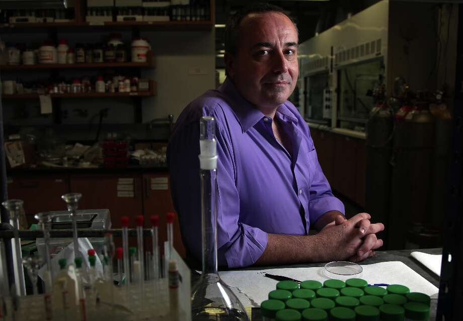 Adrew Barron, Professor of Materials Science, is photographed in the lab at Rice University in January 2013. Barron developed research that led to the creation of a new type of ceramic proppant, a material used in hydraulic fracturing to hold the shale rock open so oil and gas can come out. Photo: Mayra Beltran/Houston Chronicle / © 2013 Houston Chronicle