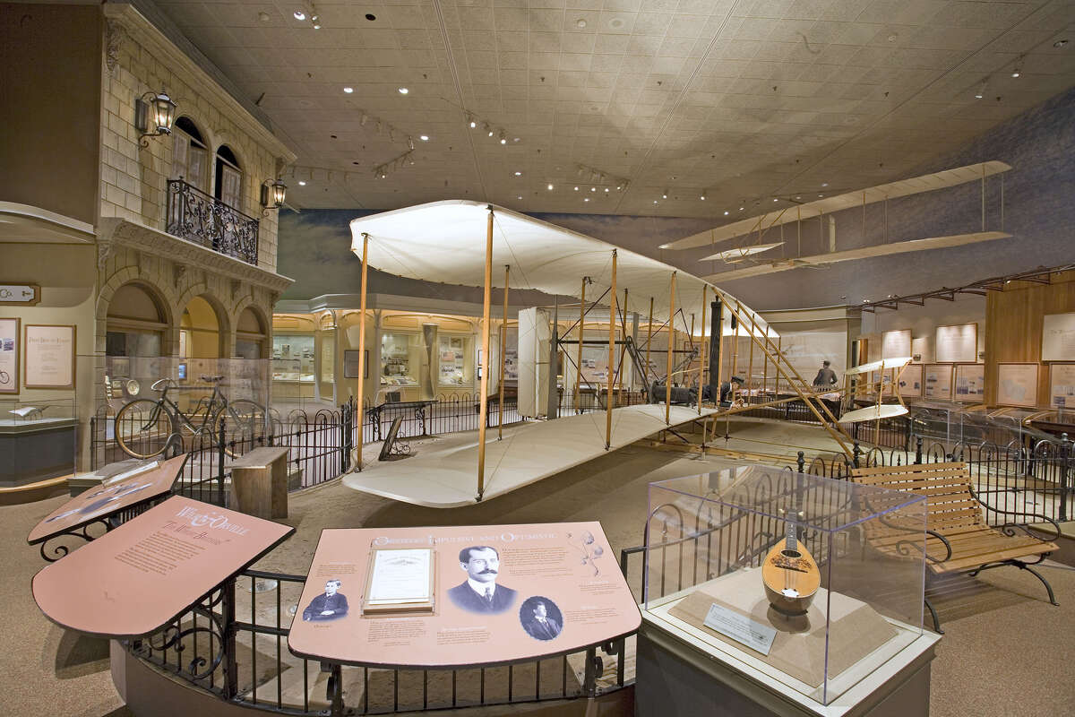 This is the iconic 1903 Wright Flyer as it appears today in the Smithsonian Air & Space Museum in Washington, D.C. Critics say that the agreement that the museum has with the Wright family has effectively prevented the world-renowned museum from examining the exploits of other aviation pioneers such as BridgeportâÄôs Gustave Whitehead, who may have flown more than two years earlier in Fairfield.
