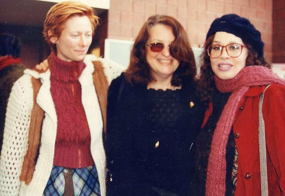 Actress Tilda Swinton (left), director Lynn Hershman Leeson and Karen Black attend the Sundance Film Festival in 2002. Photo: Courtesy Lynn Hershman Leeson I