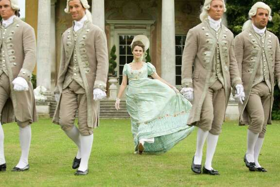 "Jane (Keri Russell) gets carried away with the pomp and circumstance of her Jane Austen-era surroundings in ""Austenland."""