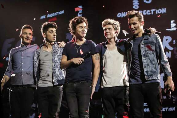 L-r, Liam Payne, Zayn Malik, Harry Styles, Niall Horan and Louis Tomlinson in TriStar Pictures' One Direction: This Is Us.