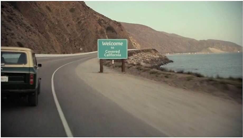 """Welcome to Covered California"" is one of the signs featured in a new television ad publicizing the state's new health insurance marketplace. Photo: Covered California, Vimeo"