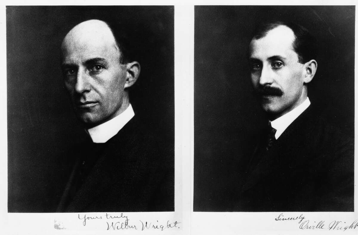 Wilbur Wright (1867 - 1912) and Orville Wright (1871 - 1948), the two brothers who worked closely together in the early development of aeronutics, inventing and flying the first practical aeroplane, circa 1903.