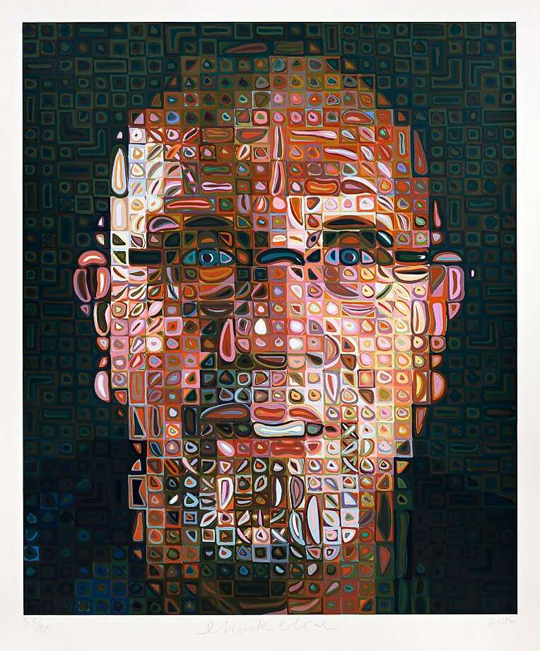 """Self-Portrait Screenprint 2012"" (2012), silk-screen in 246 colors, by Chuck Close. Courtesy of the John Berggruen Gallery. Photo: John Berggruen Gallery"
