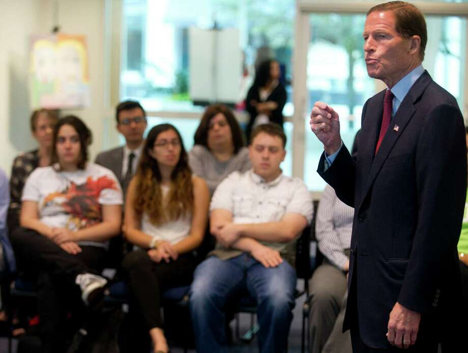 U.S. Sen. Richard Blumenthal speaks during a forum discussion about student financial aid and loans at the University of Connecticut's Stamford campus on Thursday, August 29, 2013. Photo: Lindsay Perry / Stamford Advocate