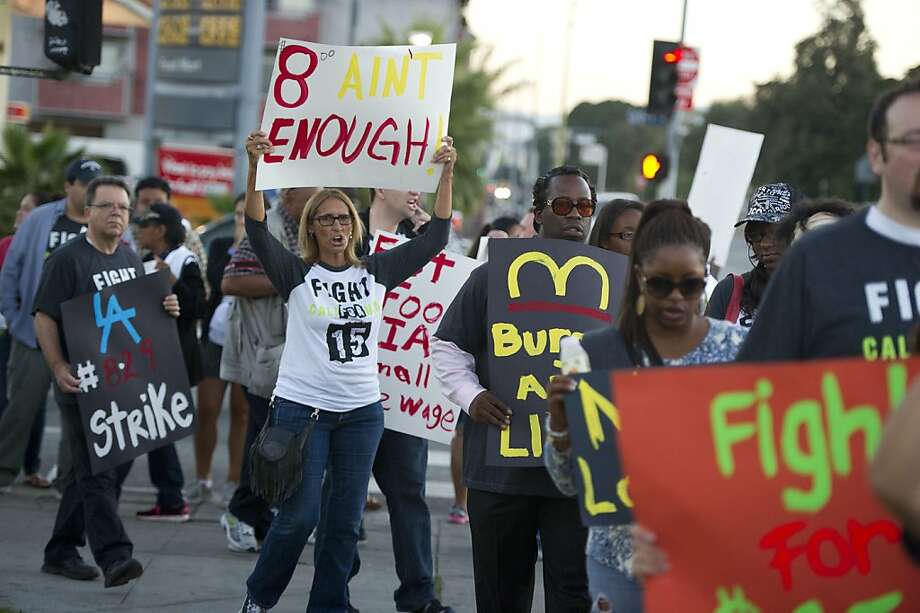 Fast-food workers and supporters rallied Thursday in Los Angeles. Photo: Robyn Beck, AFP/Getty Images