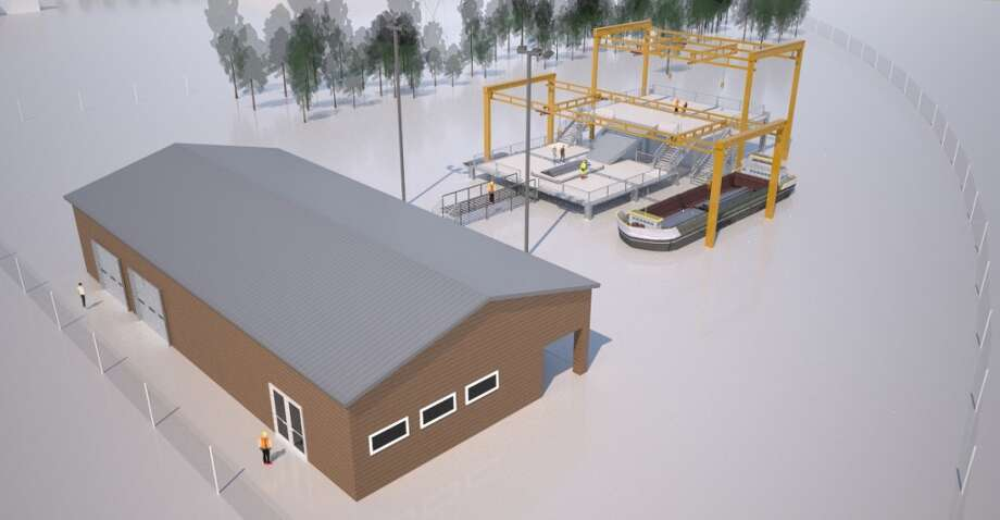 This architectural rendering shows Houston Community College's planned Global Oil and Gas Drilling Training Center, a two-week program that enhances traditional training for rig worker with life-like experiences. It's scheduled to launch in the spring of 2014. Photo: Houston Community College