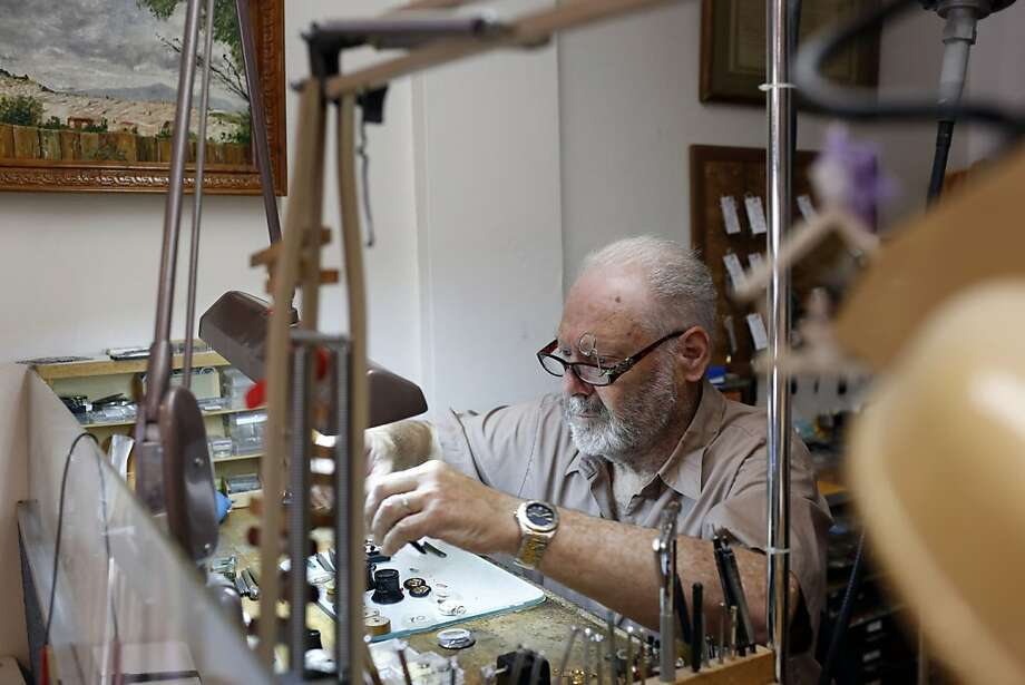 Max Deleuse learned cabinetmaking but ended up repairing watches alongside his father in their Marina district shop. All six of his children have worked there, but none became a watchmaker. Photo: Ian C. Bates, The Chronicle