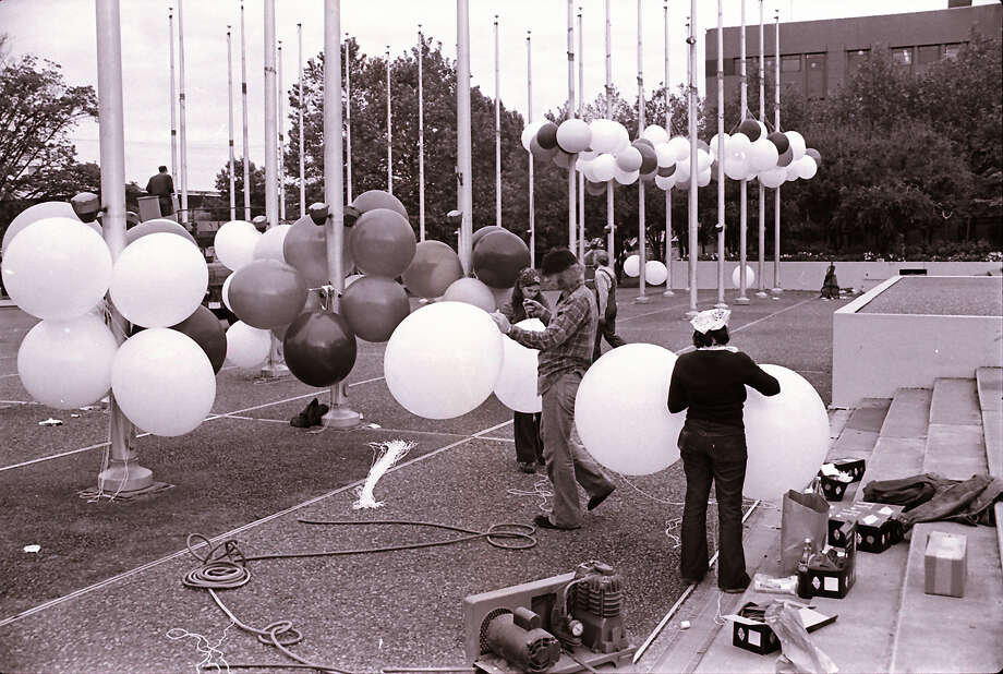 Before the poles at the Flag Pavilion were removed, they served as balloon tethers at Bumbershoot in 1979.  Photo: -
