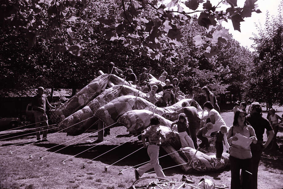 "Sausage-like beanbags you can climb on? Every kid's dream. This was called the ""Bridge to Rainbow Gap."" (Bumbershoot, 1979).  Photo: -"