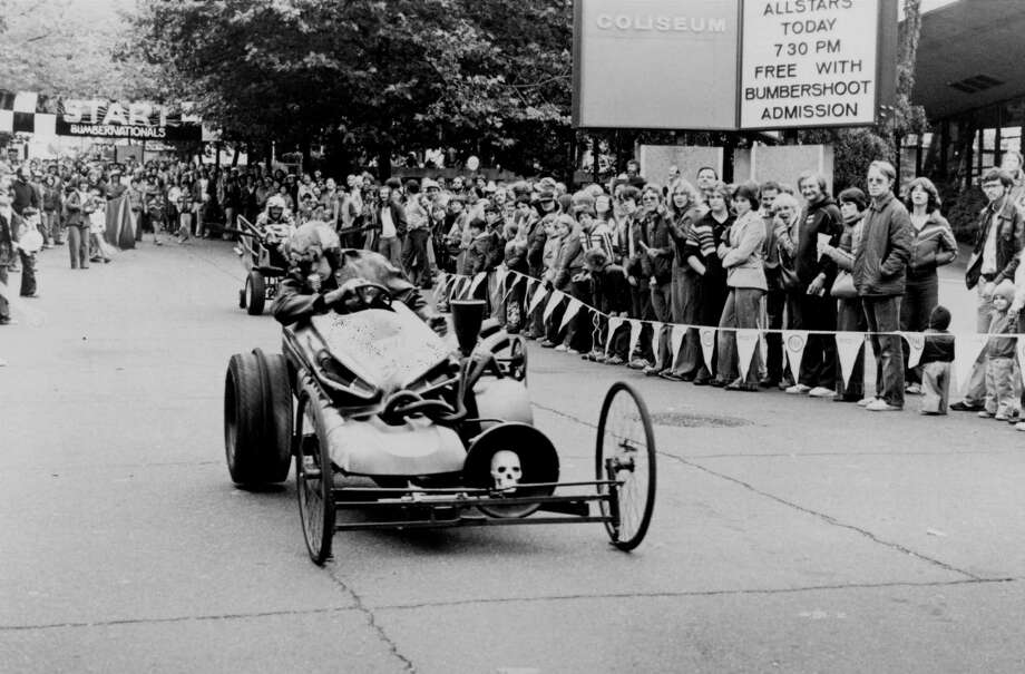 """There was also this home-made, soap-box car at the """"Bumbernationals"""" derby race in 1980.  Photo: STEVE MELTZER, -"""