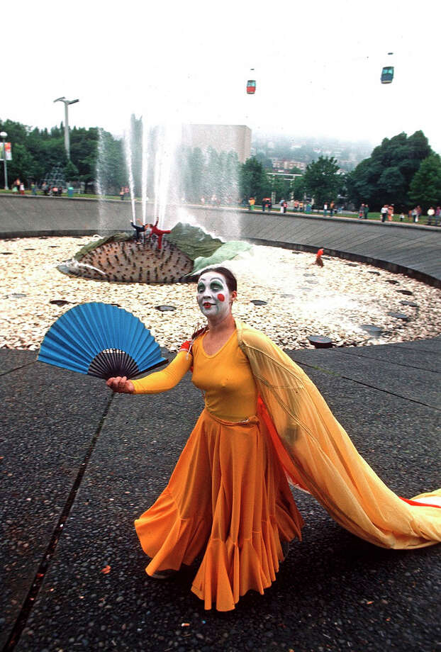 Another look at the old, rocky International Fountain and the long-gone skycabs in the background. (Bumbershoot 1973). Oh, yeah, and there's a mime.  Photo: -
