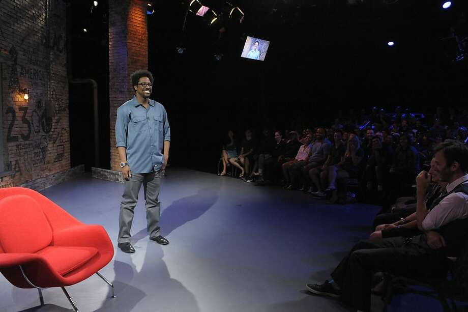W. Kamau Bell, top, says there was a learning curve going from stand-up to TV, but guests like Rachel Maddow, above left, helped him out. Photo: Jeffrey Neira/FX