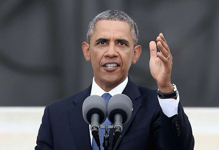 President Obama speaks during the March on Washington anniversary. Photo: Alex Wong, Getty Images