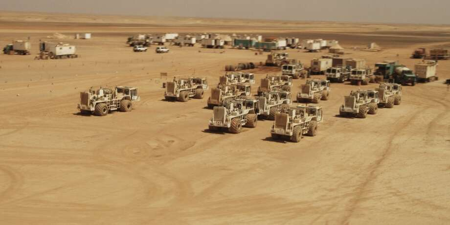 Apache equipment acquires 3-D seismic in the Western Desert. Photo: Apache Corp.