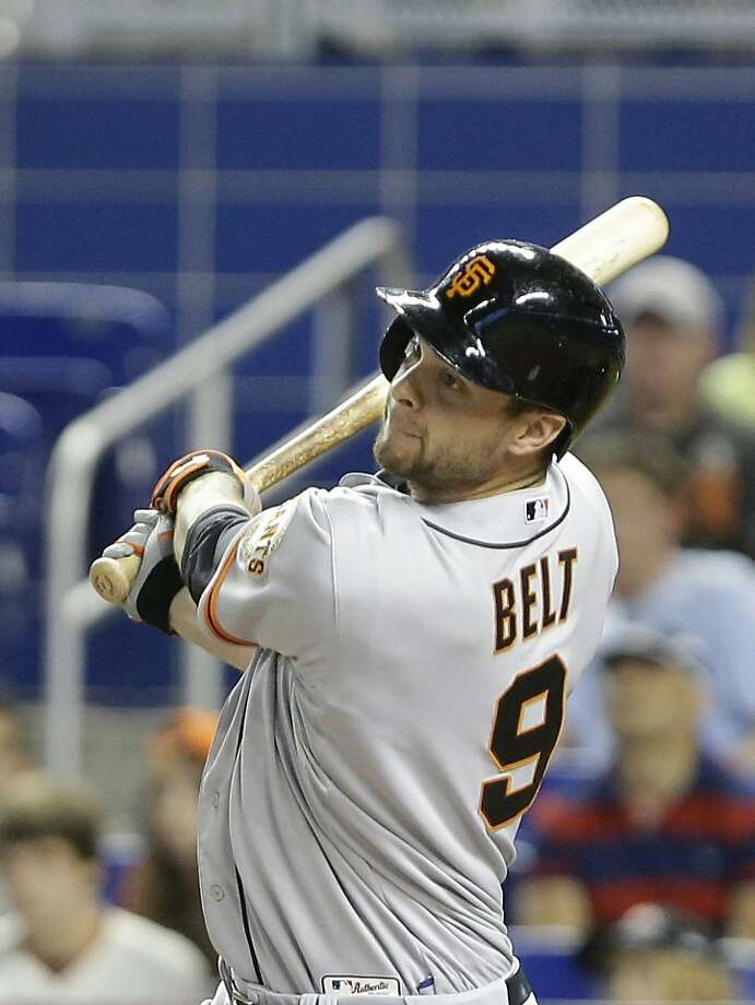 Brandon Belt is batting .370 this month, with 34 hits. Photo: Wilfredo Lee, Associated Press