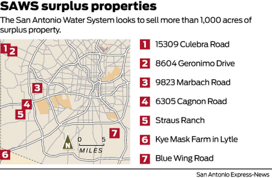 SAWS surplus propertiesThe San Antonio Water System looks to sell more than 1,000 acres of surplus property. Photo: Harry Thomas