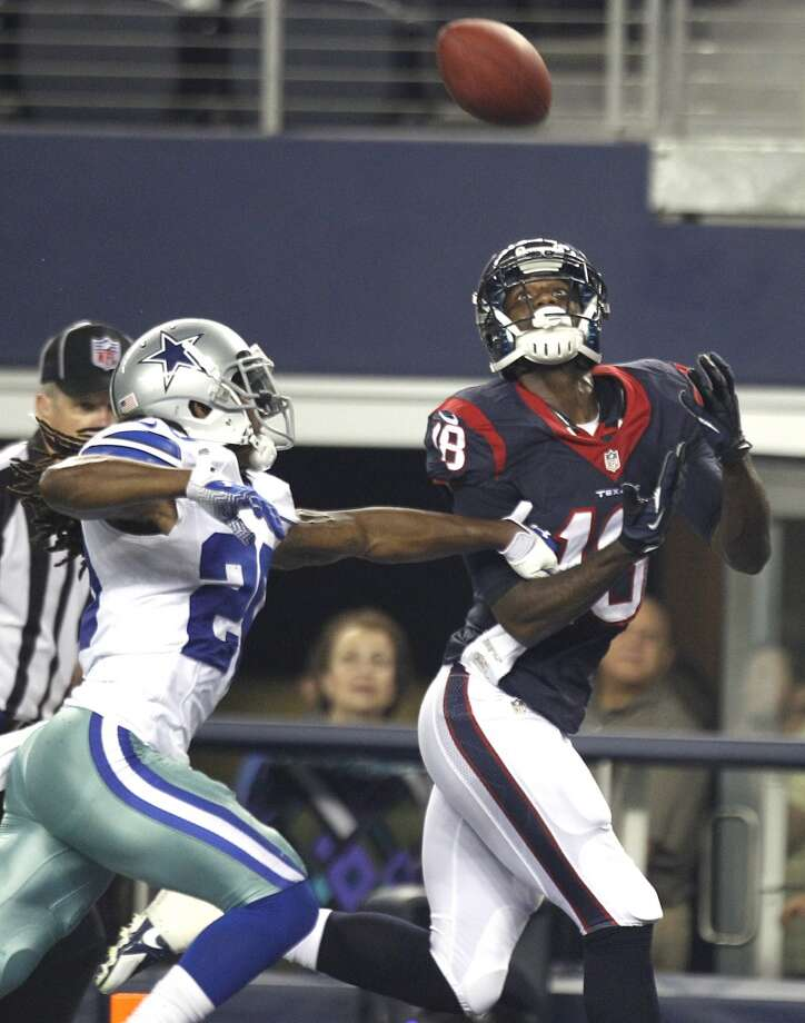 Texans wide receiver Lestar Jean beats Cowboys cornerback B.W. Webb for a 27-yard touchdown reception from quarterback Case Keenum. Photo: Brett Coomer, Houston Chronicle