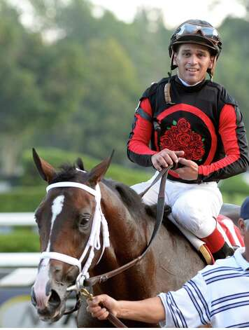 Bashart with jockey Javier Castellano the number one jockey in the riding title enters the winner's circle after winning the 9th running of The With Anticipation Stakes Aug 29, 2013 at the Saratoga Race Course in Saratoga Springs, N.Y.   (Skip Dickstein/Times Union) Photo: SKIP DICKSTEIN