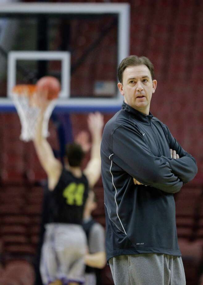 Albany head coach Will Brown watches his team practice for a first-round game of the NCAA college basketball tournament, Thursday, March 21, 2013, in Philadelphia. Albany is scheduled to play Duke on Friday. (AP Photo/Matt Slocum) Photo: Matt Slocum / AP