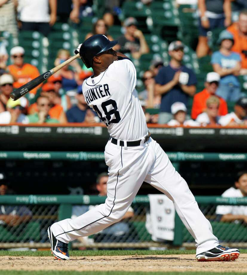 DETROIT, MI - AUGUST 29:  Torii Hunter #48 of the Detroit Tigers hits a three-run, walk-off, home run in the ninth inning to defeat the Oakland Athletics 7-6 at Comerica Park on August 29, 2013 in Detroit, Michigan. (Photo by Duane Burleson/Getty Images) ORG XMIT: 163495257 Photo: Duane Burleson / 2013 Getty Images
