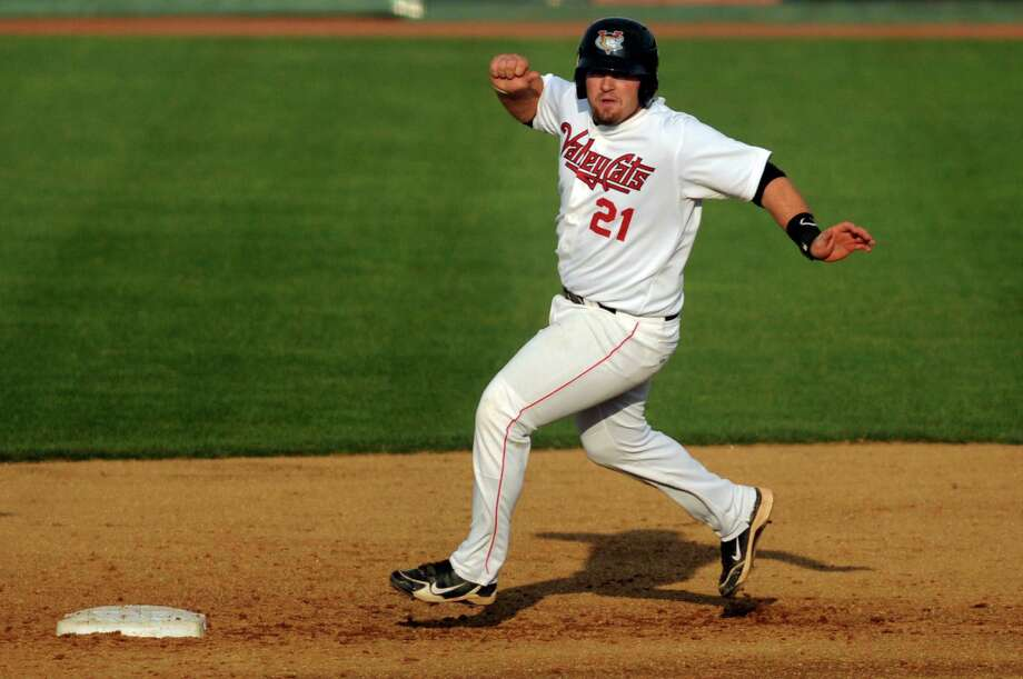 ValleyCats' Tyler White runs safely to second during the first game of their doubleheader against the Vermont Lake Monsters on Thursday, Aug. 29, 2013, at Bruno Stadium in Troy, N.Y. (Cindy Schultz / Times Union) Photo: Cindy Schultz / 00023638A