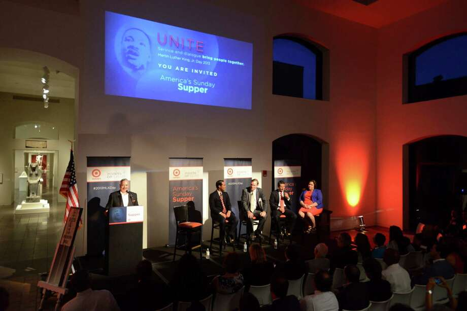 Henry Munoz III, left, host of the Points of Light national series of America's Sunday Suppers at the San Antonio Museum of Art, Mayor Julian Castro; CEO of the Washington Post Company Don Graham, president of Univision Don Graham, and Gaby Pacheco, a child of illegal immigrants who is hoping to obtain legal residency, have a discussion at the San Antonio Museum of Art on Thursday, Aug. 29, 2013. Photo: Billy Calzada, San Antonio Express-News / San Antonio Express-News