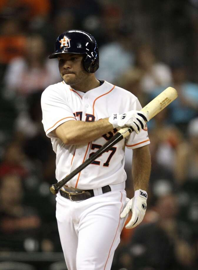 Astros second baseman Jose Altuve reacts after striking out. Photo: Karen Warren, Houston Chronicle