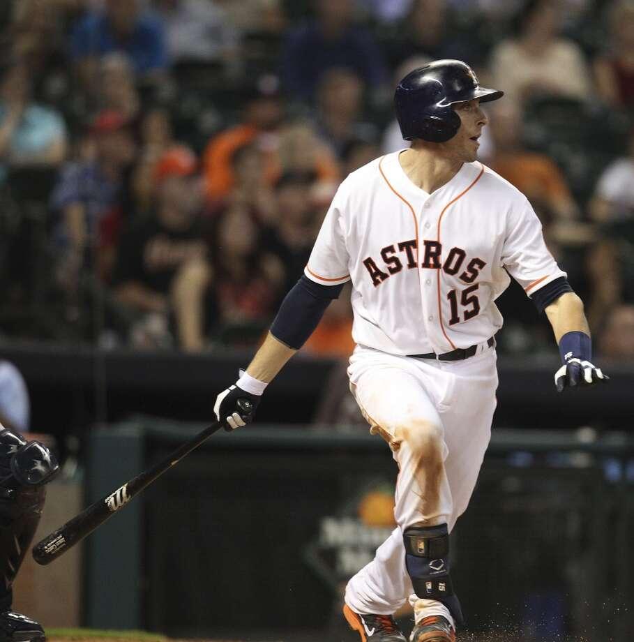 Astros catcher Jason Castro hits a RBI double. Photo: Karen Warren, Houston Chronicle