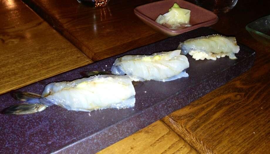 Madagascar prawn sashimi at Akiko's