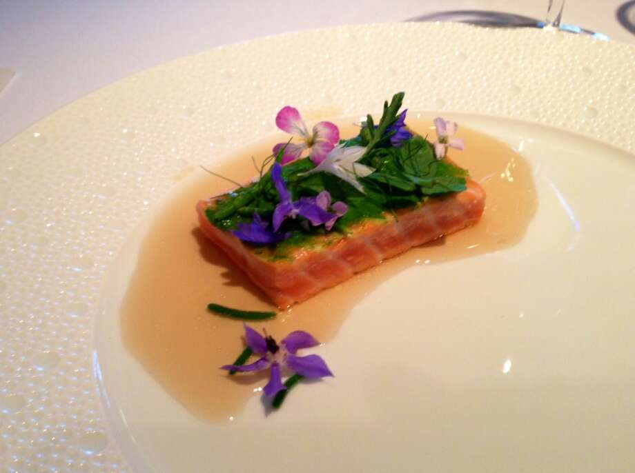 Salmon with chamomile reduction, one of the eight courses at Aubergine in Carmel