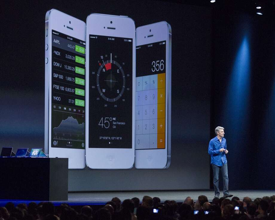 SAN FRANCISCO, CA - JUNE 10:  Apple's Craig Federighi, Vice President of Software Engineering, introduces iOS7 at a keynote address during the 2013 Apple WWDC at the Moscone Center on June 10, 2013 in San Francisco, California. Apple's annual developer conference runs through June 14.  (Photo by Kim White/Getty Images) Photo: Getty Images