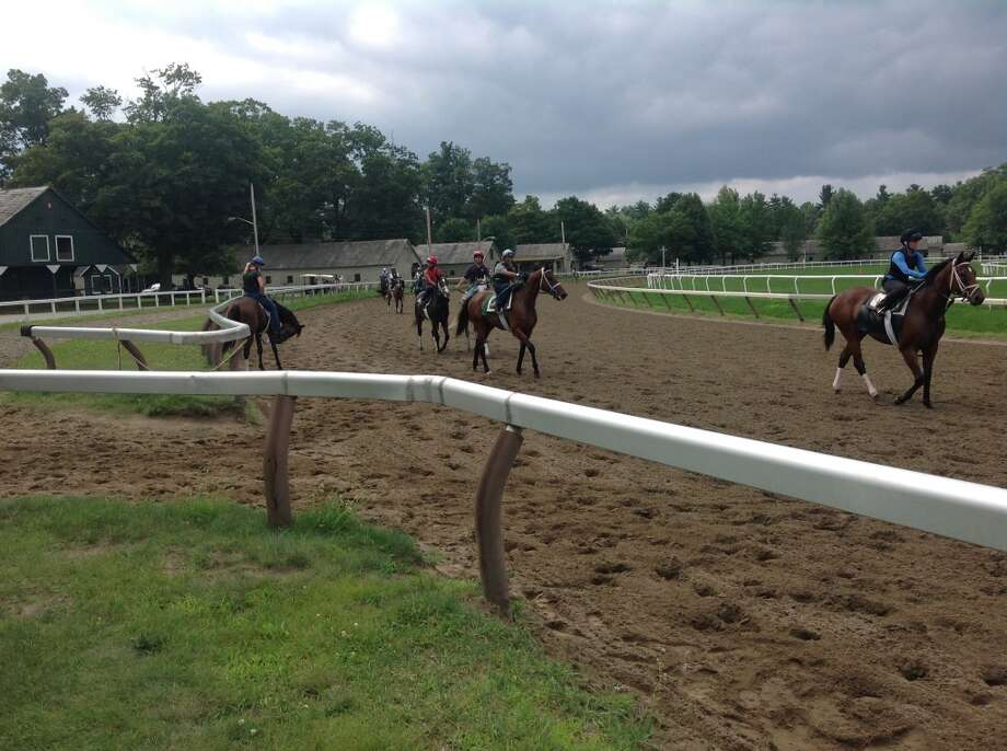 Race horses in training at the Oklahoma Track at the Saratoga Race Course. (Alan Richter)