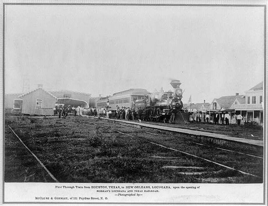 The image shows the first train departure from Houston to Louisiana at the grand opening of Morgan's Louisiana and Texas Railroad.