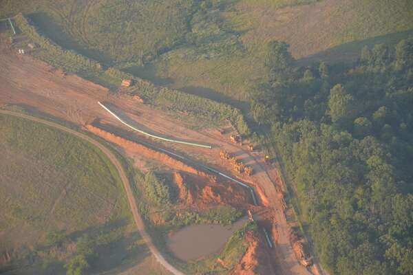 An exposed portion of the  Keystone XL Gulf Coast Pipeline is shown along the pipeline right-of-way during a flyover by Genscape on August 18.