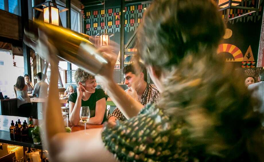 Bartender Zoe Carrasco shakes a cocktail at Duende in Oakland. Photo: John Storey, Special To The Chronicle