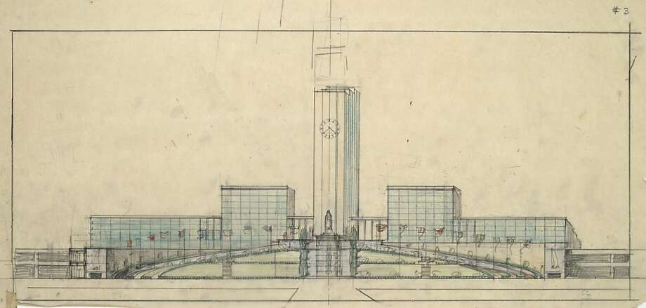 One of William Merchants sketches for the World Trade Center that was proposed for the foot of Market Street in 1951 -- a nine-block project that would have demolished the Ferry Building far beyond today's shoreline into the bay. Photo: Environmental Design Archives, Environmental Design Archives, U