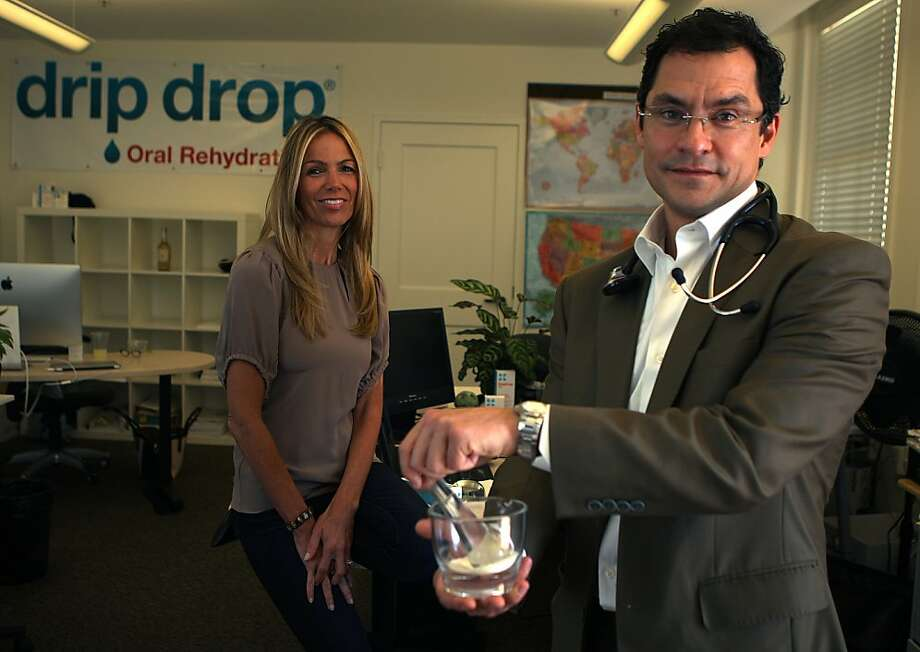 Drip Drop founder Dr. Eduardo Dolhun developed the oral rehydration powder and hired CEO Anne Kallin Zehren. Photo: Liz Hafalia, The Chronicle
