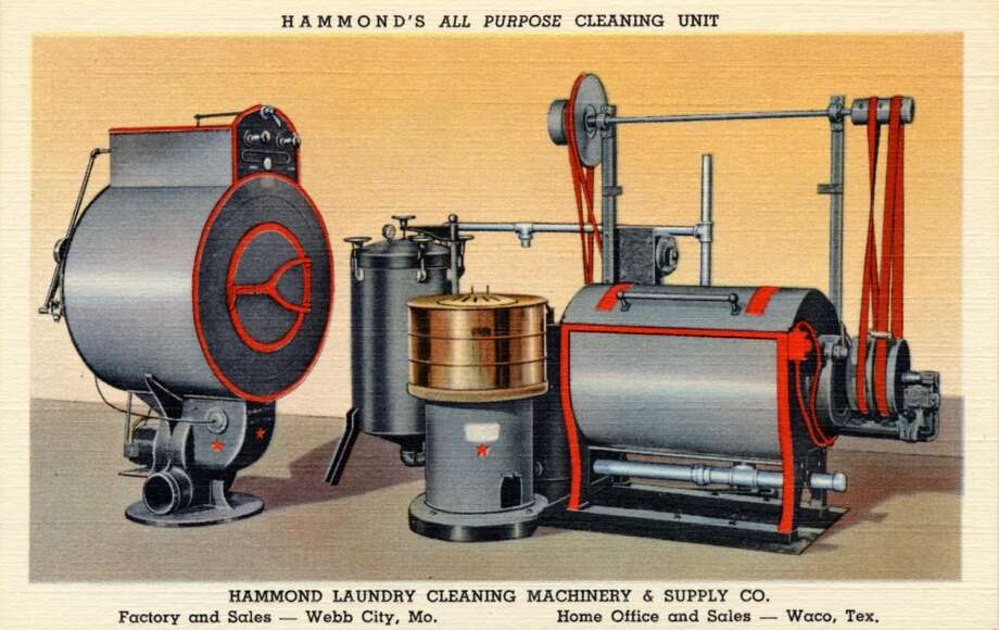 UNITED STATES - CIRCA 1940:  Vintage linen advertising postcard showing the Hammond Laundry Cleaning Machinery & Supply Company's all purpose cleaning unit.   (Photo by Lake County Museum/Getty Images) Photo: Getty Images