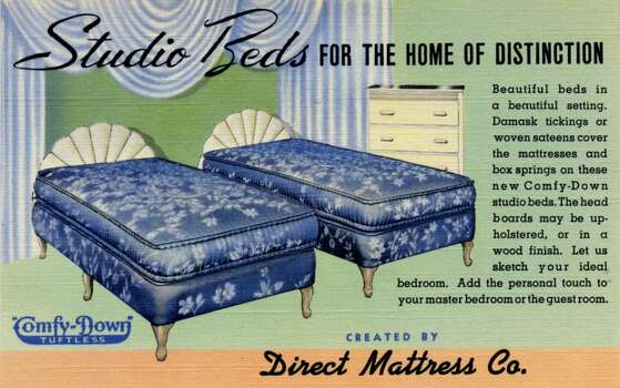 UNITED STATES - CIRCA 1940:  Vintage linen advertising postcard showing two studio beds with upholstered headboards and blue mattresses.  (Photo by Lake County Museum/Getty Images) Photo: Getty Images