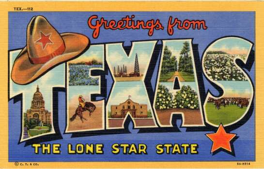 Greetings From Texas, The Lone Star State, a large letter postcard of Texas showing a views of the state in each letter, 1938. (Photo by Lake County Museum/Getty Images) Photo: Getty Images