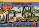 Greetings From Texas, The Lone Star State, a large letter postcard of Texas showing a views of the state in each letter, 1938. (Photo by Lake County Museum/Getty Images)